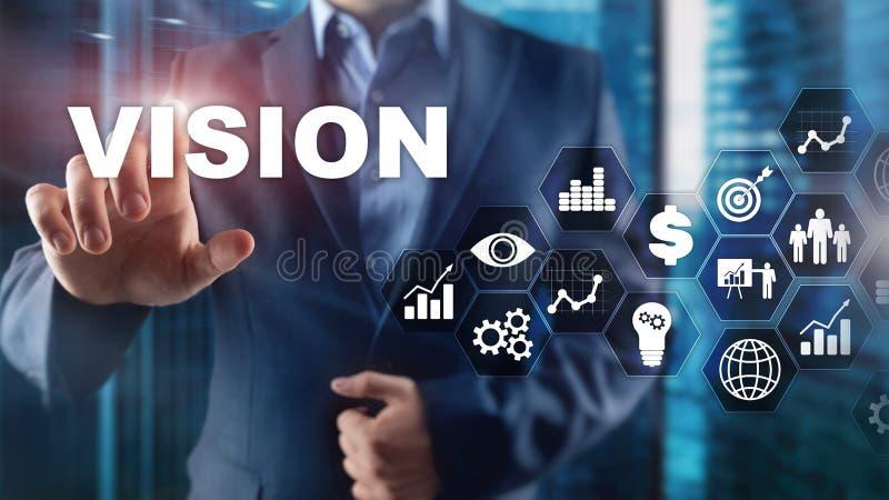Concetto di visione Gente di affari e citt? moderna su fondo Lo schermo virtuale ha mescolato i media immagine stock