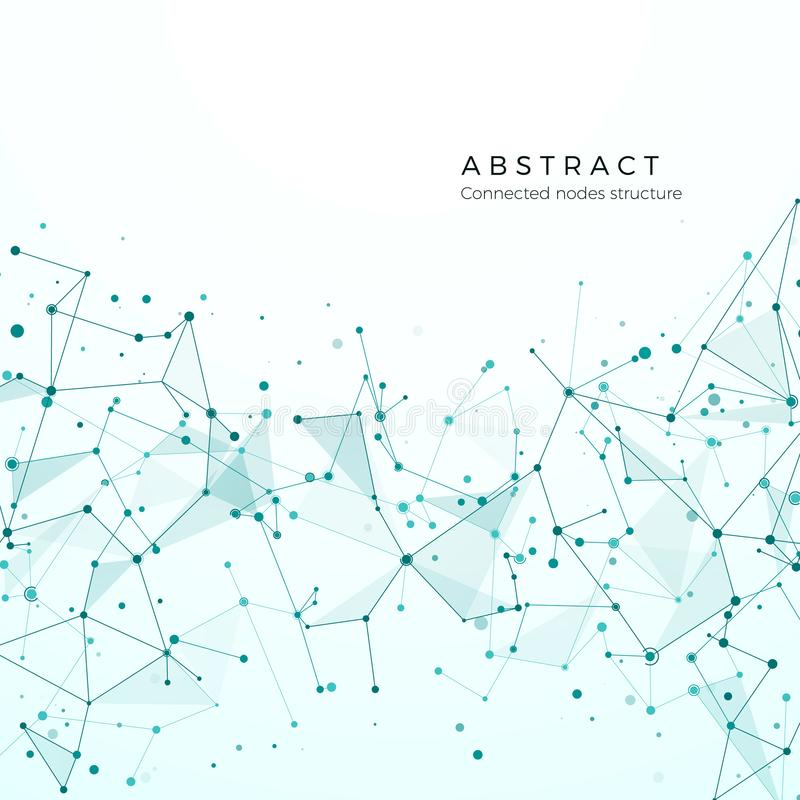 Concetto di visualizzazione di dati Modello grafico di nodo Struttura di rete complessa di difficoltà Plesso futuristico astratto royalty illustrazione gratis