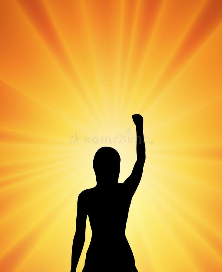 Concetto di vittoria di potere della donna illustrazione vettoriale
