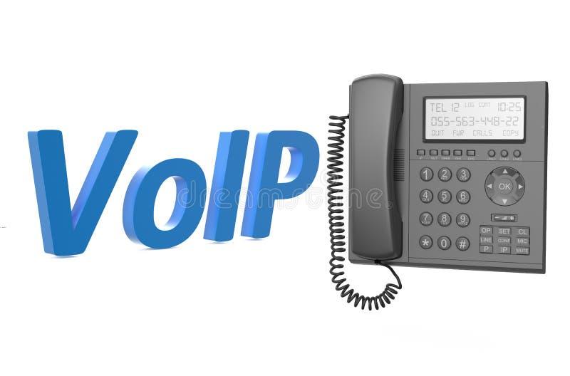 Concetto di VoIP con il telefono del IP illustrazione vettoriale