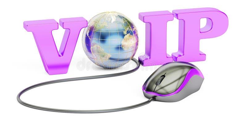 Concetto di VoIP, rappresentazione 3D illustrazione vettoriale