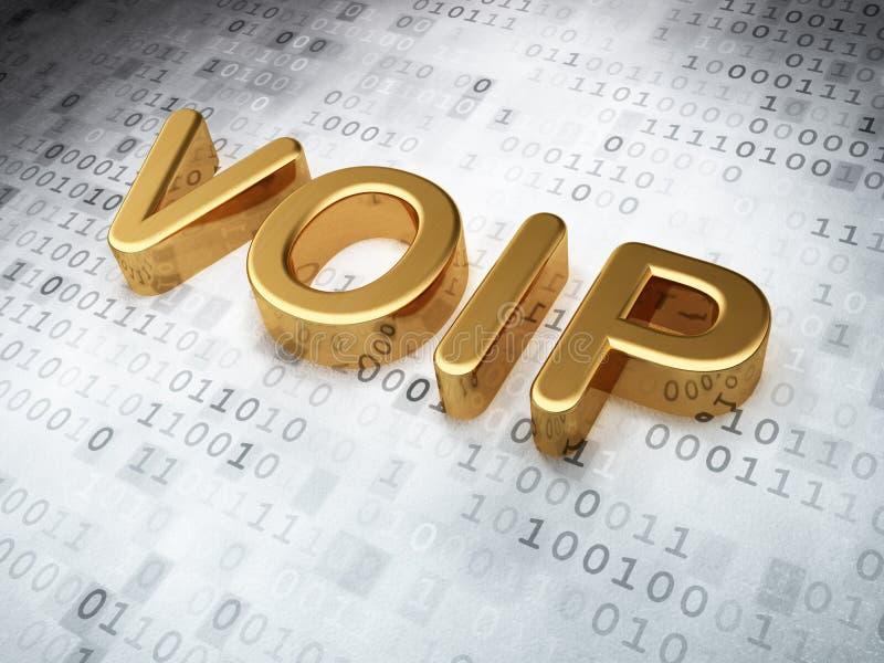 Concetto di web design di SEO: VOIP dorato su fondo digitale fotografia stock
