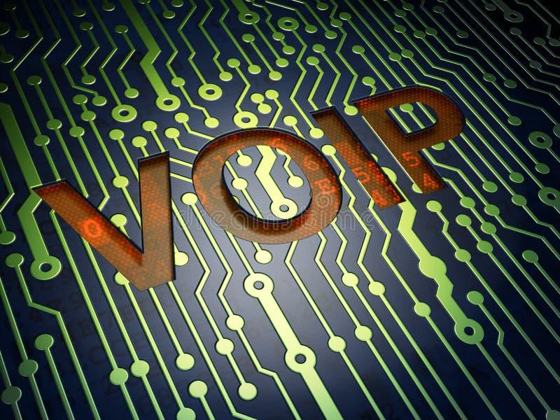 Concetto di web design di SEO: VOIP sul circuito royalty illustrazione gratis