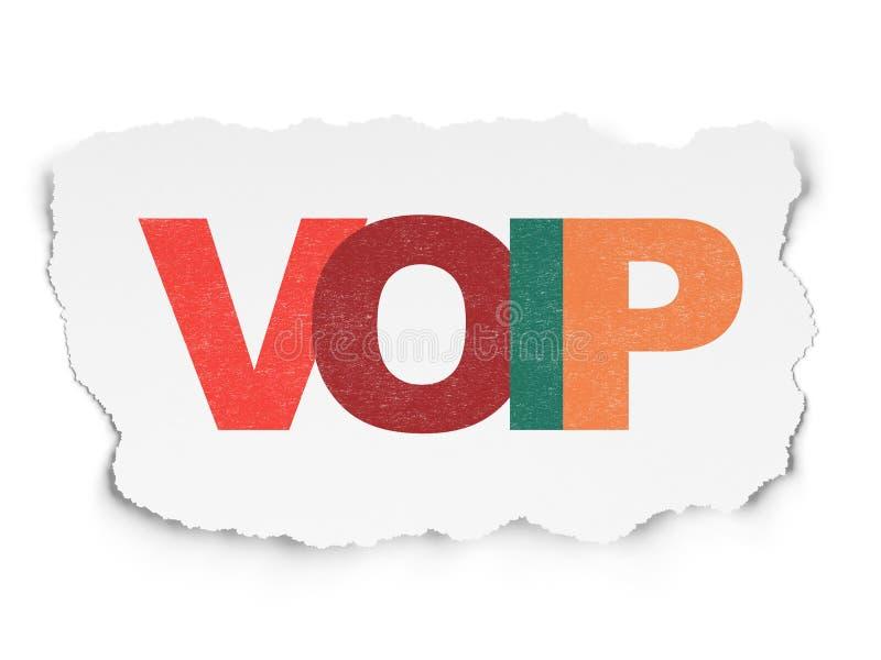 Concetto di web design: VOIP su fondo di carta lacerato fotografia stock libera da diritti