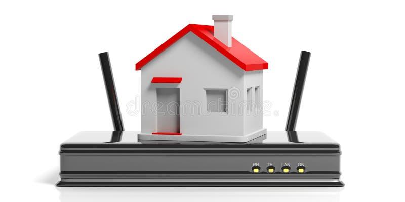 Concetto di Wifi a casa illustrazione 3D illustrazione di stock