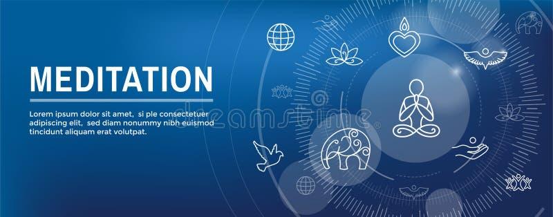 Concetto di Zen Meditation Mandala Design Symbol con l'insegna di intestazione di web di abbellimenti di yoga di Swirly illustrazione vettoriale
