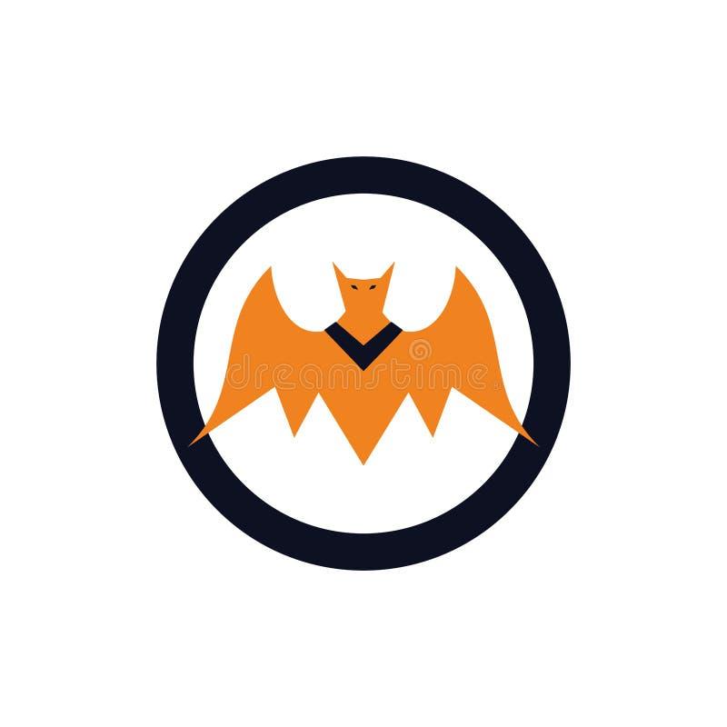 Concetto diabolico giallo di logo dell'emblema del pipistrello illustrazione vettoriale