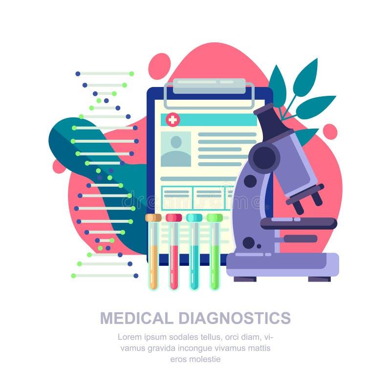Concetto diagnostico medico Ricerca del laboratorio, illustrazione piana di vettore dell'analisi del sangue e del DNA illustrazione di stock
