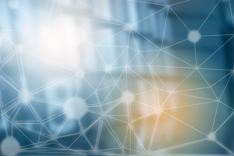 Concetto digitale della catena di blocco Fondo di Internet del blockchain di dati di tecnologia di affari grande Informazioni fin illustrazione di stock