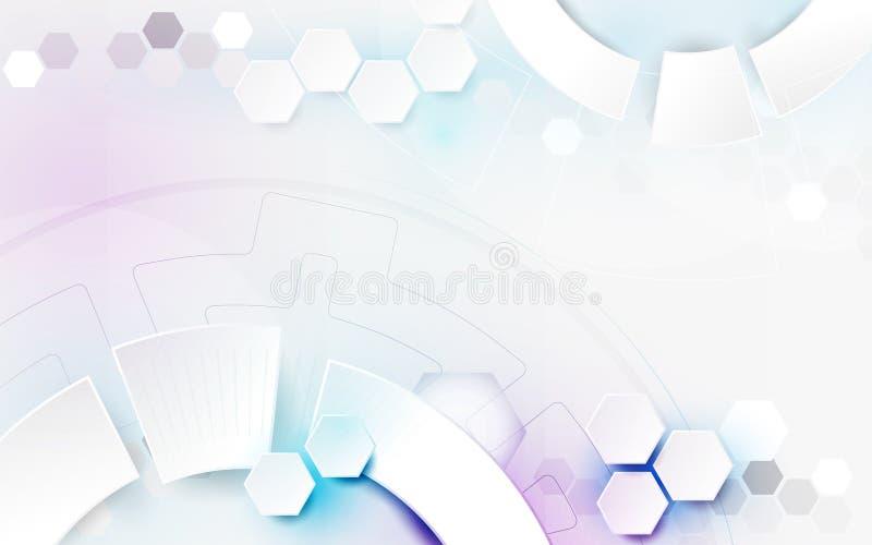 Concetto digitale di tecnologia di tecnologia geometrica bianca dell'estratto ciao e fondo futuristico di progettazione illustrazione di stock