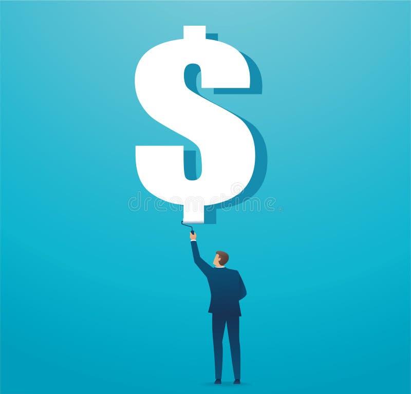 Concetto dipinto uomo di affari dell'icona del dollaro Illustrazione di vettore illustrazione di stock