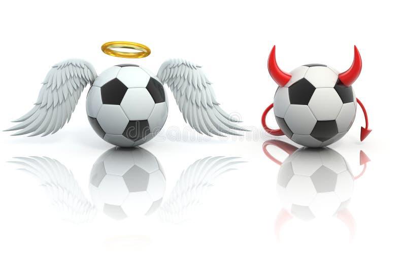 Concetto divertente di calcio 3d - angelo e palloni da calcio del diavolo illustrazione vettoriale