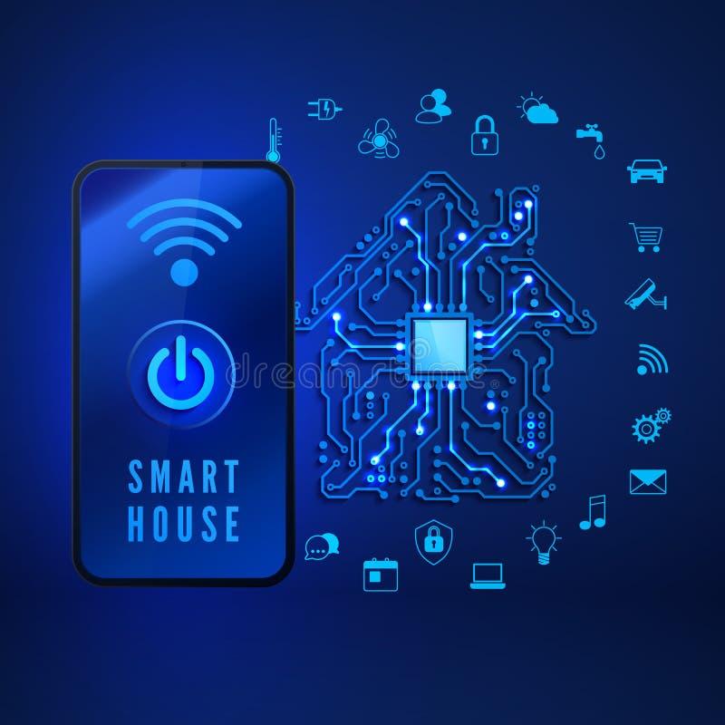 Concetto domestico astuto Casa intelligente a distanza di controllo dallo smartphone Circuito della Camera ed icone domestiche as illustrazione di stock