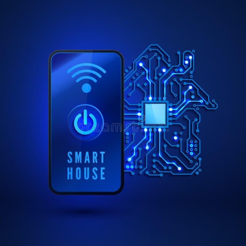 Concetto domestico astuto Casa intelligente a distanza di controllo dallo smartphone Illustrazione di vettore su fondo blu illustrazione vettoriale