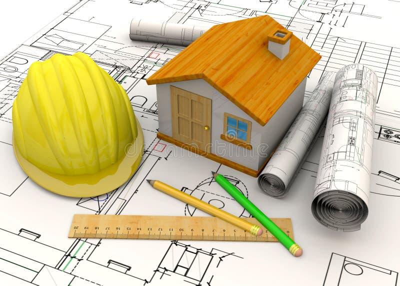 Concetto domestico di pianificazione - 3D royalty illustrazione gratis