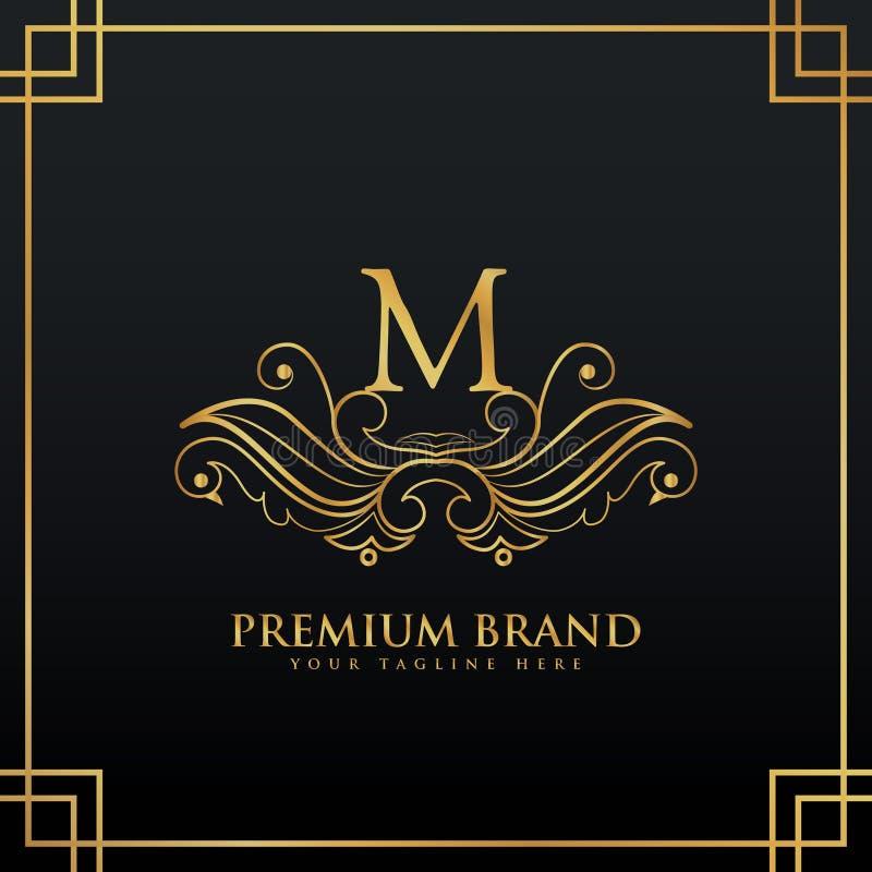 Concetto dorato elegante di logo di marca premio fatto con stile floreale illustrazione vettoriale