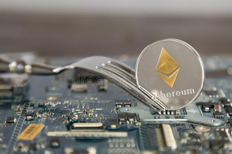Concetto duro del cambiamento della forcella di Ethereum Digital Cryptocurrency Virtua immagini stock