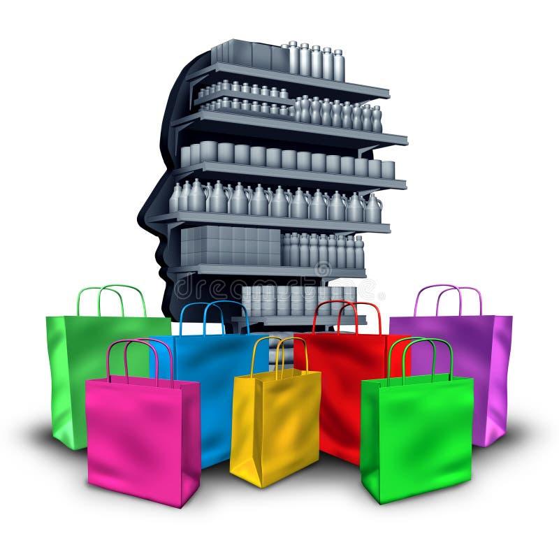 Concetto e consumismo di spesa illustrazione vettoriale