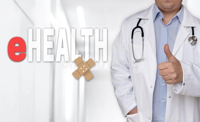 Concetto e medico di EHealth con i pollici su fotografia stock libera da diritti