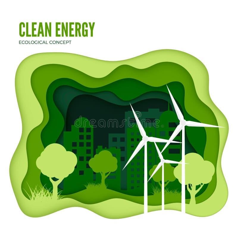 Concetto ecologico di energia verde Modello dell'insegna del taglio del Libro Verde Giorno di ambiente di mondo Vettore illustrazione di stock