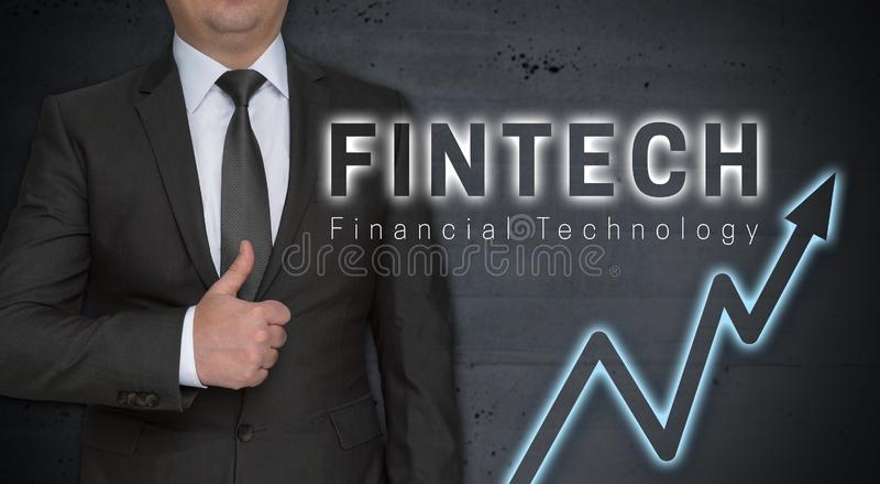 Concetto ed uomo d'affari di Fintech con i pollici su fotografie stock libere da diritti