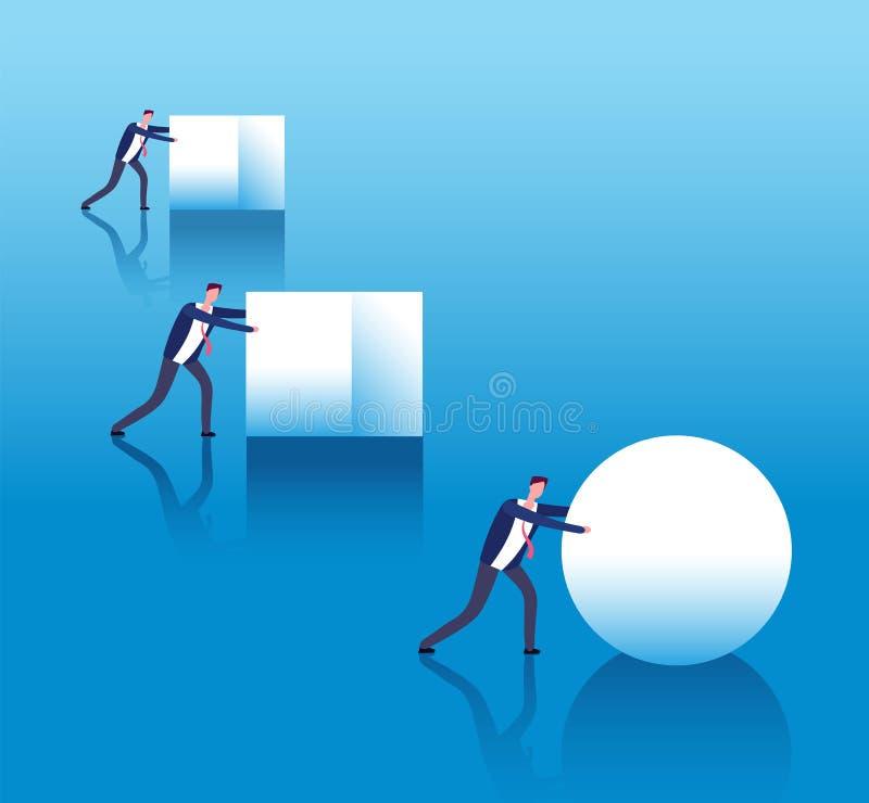 Concetto efficiente di affari Gli uomini d'affari spingono le scatole e la palla di rotoli astuta del capo Innovazione e strategi illustrazione di stock