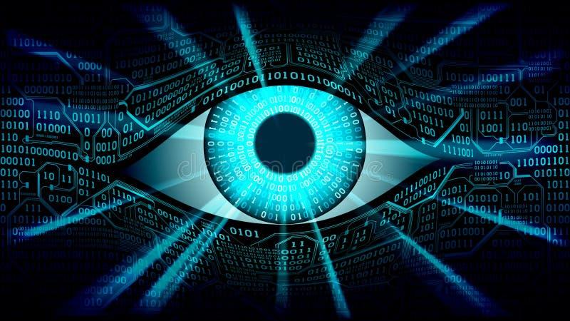 Concetto elettronico dell'occhio del fratello maggiore, tecnologie per la sorveglianza globale, sicurezza dei sistemi informatici illustrazione di stock