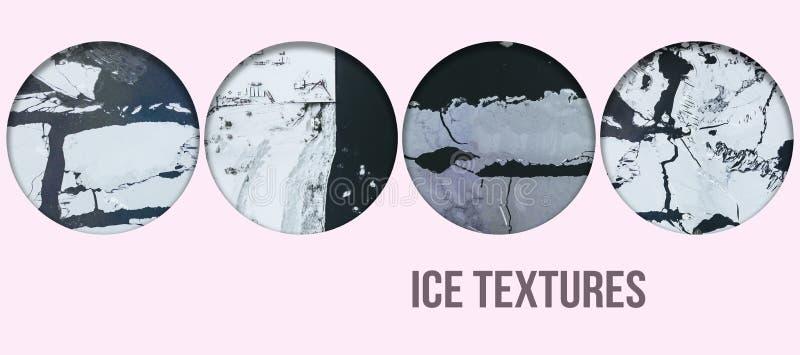 Concetto f del testo del collage di struttura del fiume congelato inverno aereo illustrazione di stock