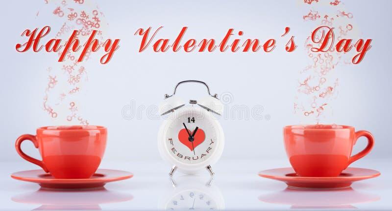 Concetto felice di giorno di biglietti di S. Valentino con le tazze e l'orologio fotografia stock libera da diritti