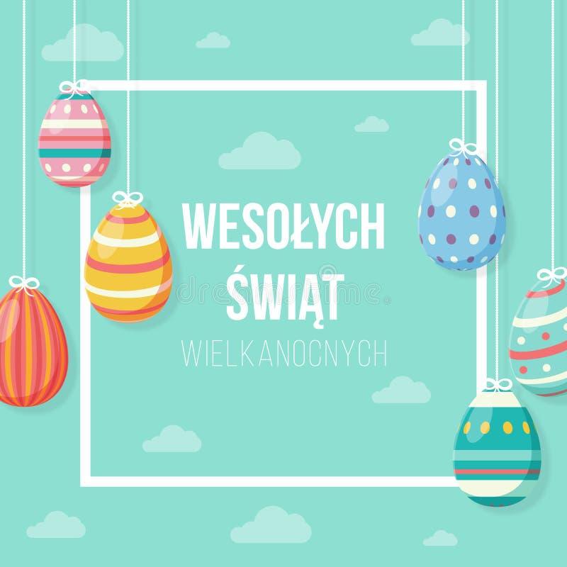 Concetto felice di Pasqua della cartolina d'auguri nel polacco con le belle uova d'attaccatura dalle nuvole illustrazione di stock