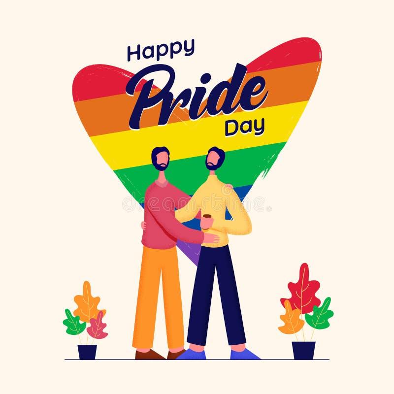 Concetto felice di Pride Day con le coppie gay ed il colore dell'arcobaleno illustrazione vettoriale