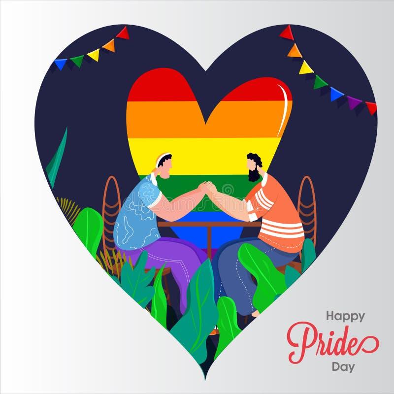 Concetto felice di Pride Day per la comunità di LGBTQ con tenersi per mano gay delle coppie e libertà di colore dell'arcobaleno royalty illustrazione gratis