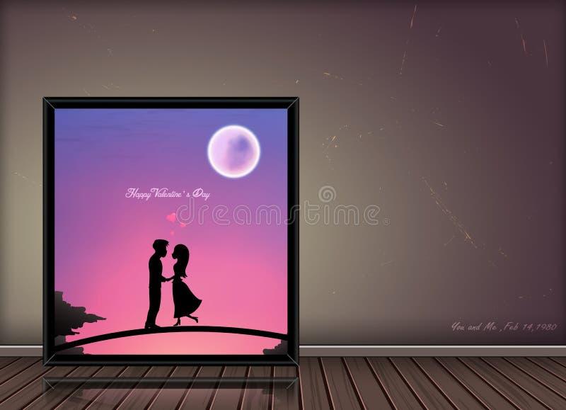 Concetto felice di storia di amore di giorno di S. Valentino nel telaio della foto su fondo d'annata royalty illustrazione gratis