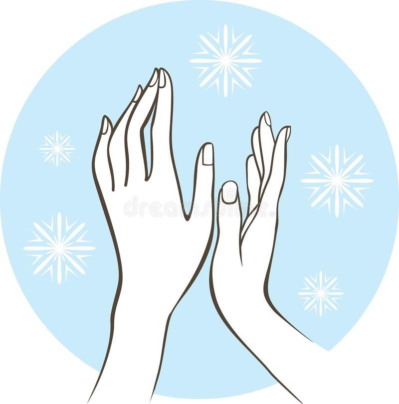 concetto femminile di trattamento della pelle di inverno delle mani royalty illustrazione gratis