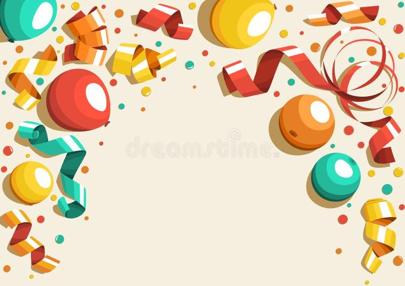 Concetto festivo di celebrazione con i nastri variopinti dei palloni e la C royalty illustrazione gratis