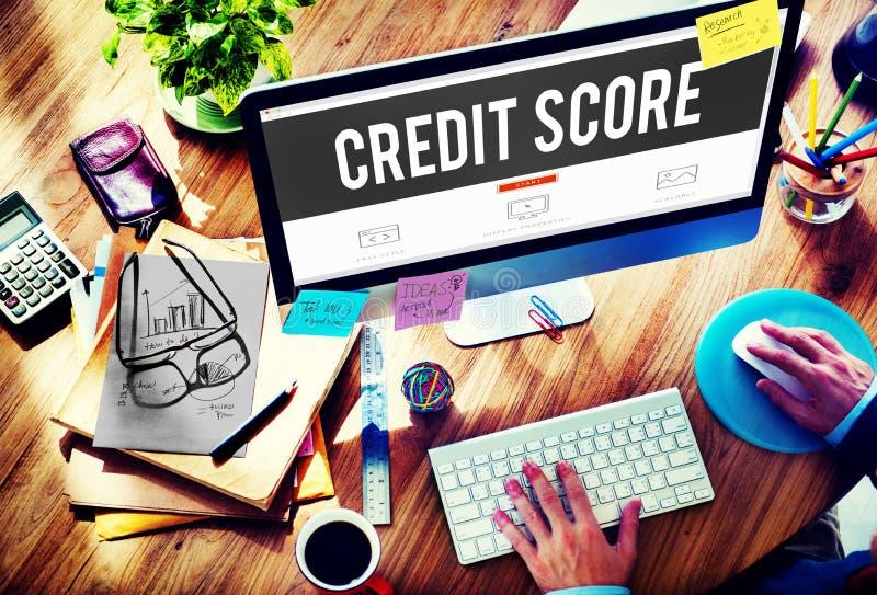 Concetto finanziario dei soldi di bilancio di valutazione di pagamento del punteggio di credito fotografia stock