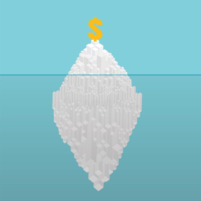 Concetto finanziario dell'iceberg Concetto potenziale nascosto Iceberg di royalty illustrazione gratis