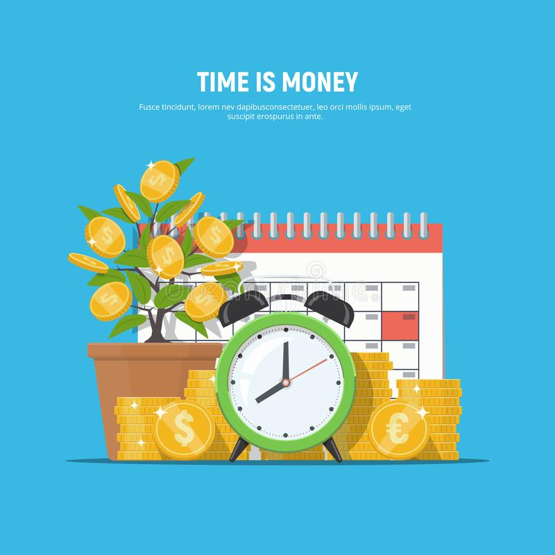 Concetto finanziario di affari Il tempo è denaro royalty illustrazione gratis