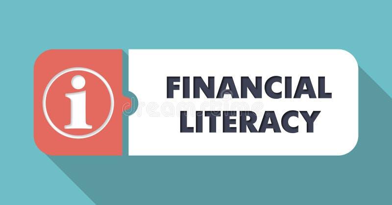 Concetto finanziario di alfabetizzazione nella progettazione piana illustrazione vettoriale