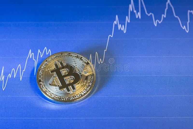 Concetto finanziario di crescita con Bitcoins dorato sul fondo del grafico immagini stock