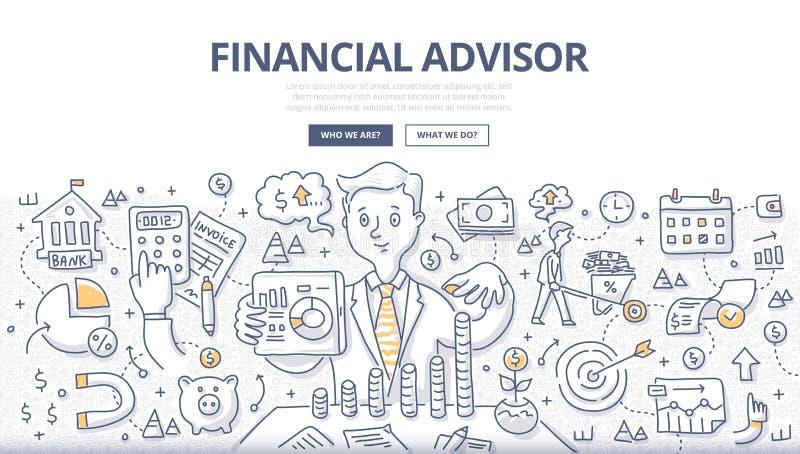 Concetto finanziario di scarabocchio del consulente illustrazione vettoriale