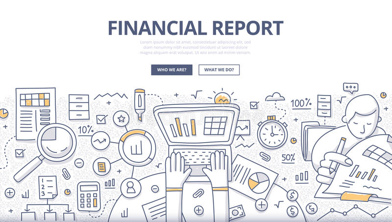 Concetto finanziario di scarabocchio di rapporto illustrazione di stock