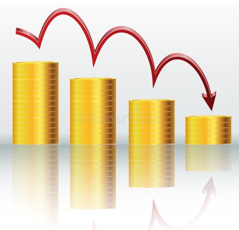 Concetto finanziario, grafico diminuente illustrazione di stock