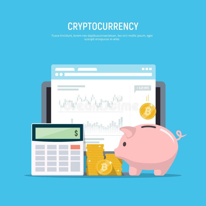 Concetto finanziario moderno Estrazione mineraria di Bitcoin Cryptocurrency Investimento aziendale illustrazione di stock