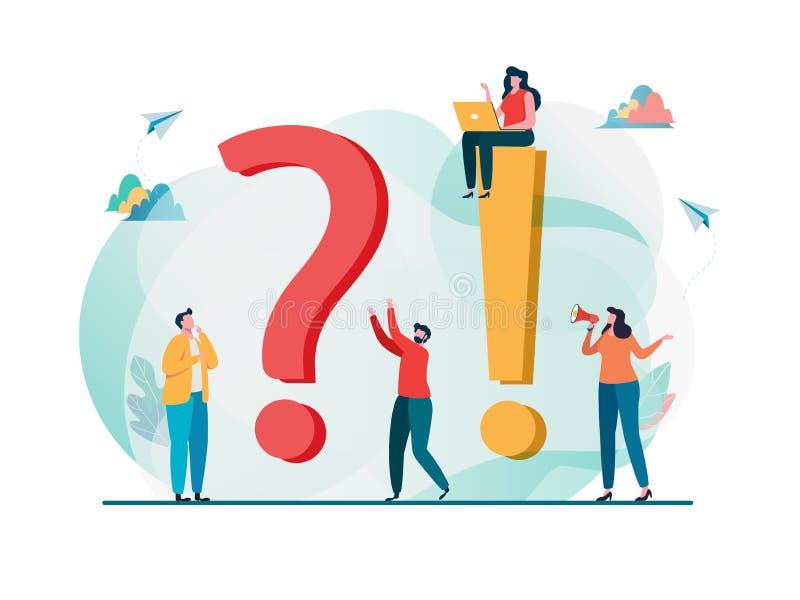 Concetto frequentemente chiesto di domande Metafora domanda-risposta Priorità bassa dell'illustrazione di vettore personaggio dei illustrazione di stock