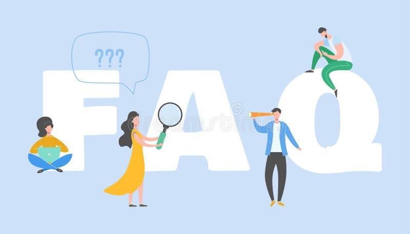 Concetto frequentemente chiesto di domande Metafora domanda-risposta Progettazione grafica della gente piana del personaggio dei  illustrazione vettoriale