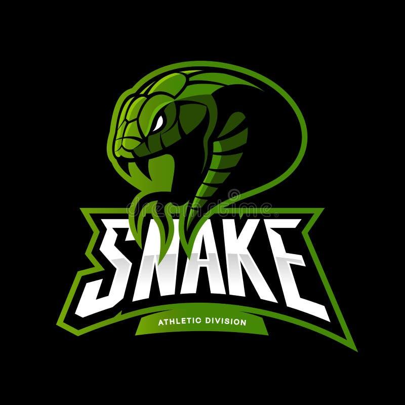 Concetto furioso di logo di vettore di sport del serpente verde isolato su fondo nero illustrazione vettoriale