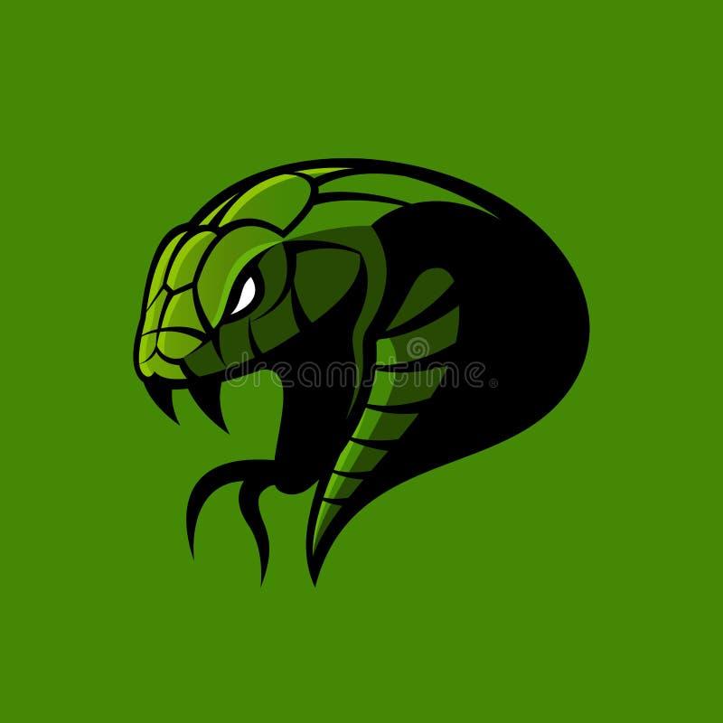 Concetto furioso di logo di vettore di sport del serpente verde isolato su fondo verde illustrazione di stock