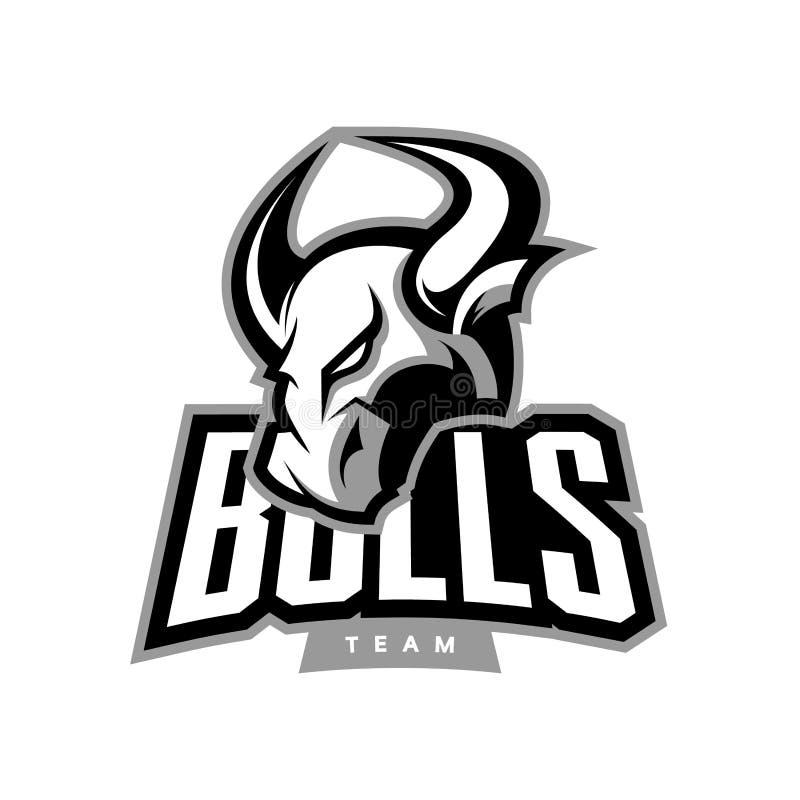 Concetto furioso di logo di vettore di sport del toro illustrazione di stock