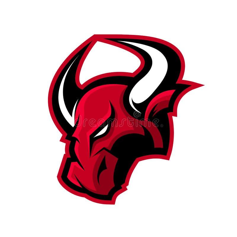 Concetto furioso di logo di vettore di sport del toro isolato su fondo bianco illustrazione vettoriale